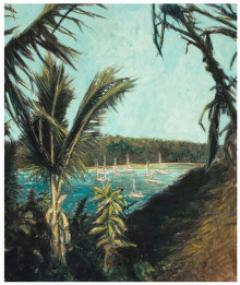 Island Harbor (tempera painting)