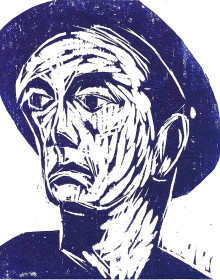Working Man with Hat (blue ink)