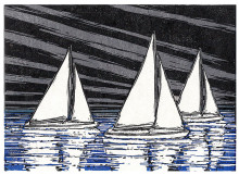 Night Sky Regatta (on white paper)