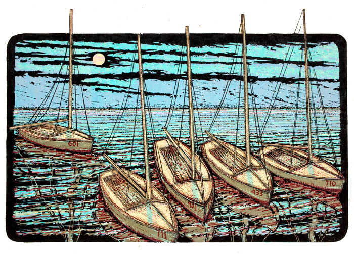 Red-Numbered-Boats-on-Calm-Seas